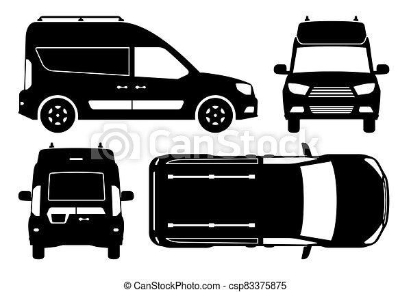 mini, illustration, vue, côté, sommet, vecteur, silhouette, dos, fourgon, devant - csp83375875