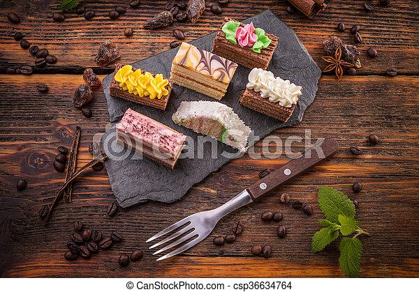 Mini Kuchen Creme Mini Verschieden Sahne Trocknet Fest Gemischt