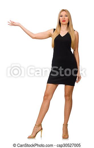 Joven mujer bonita con mini vestido negro aislada en blanco - csp30527005