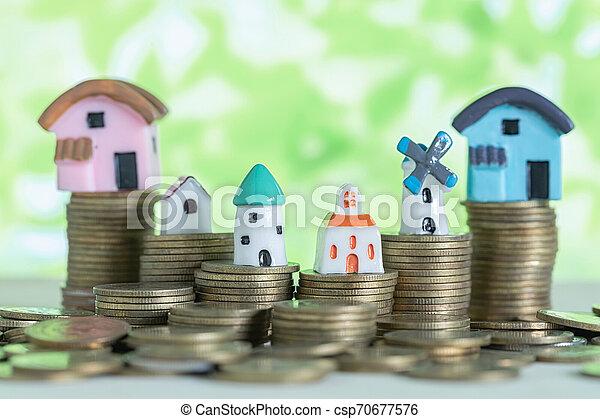 mini, pengar., begrepp, besparingpengar, köpa, hus, hem, stack - csp70677576