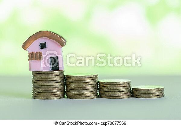 mini, pengar., begrepp, besparingpengar, köpa, hus, hem, stack - csp70677566