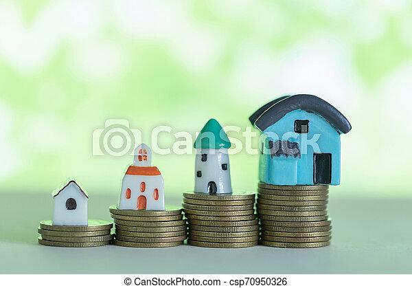 mini, pengar., begrepp, besparingpengar, köpa, hus, hem, stack - csp70950326