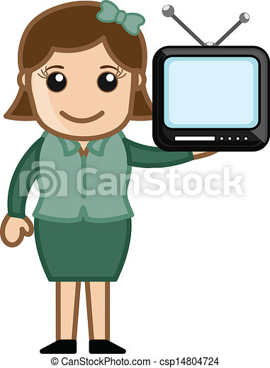 Mini tv in a girl hand vector. Drawing art of young ...