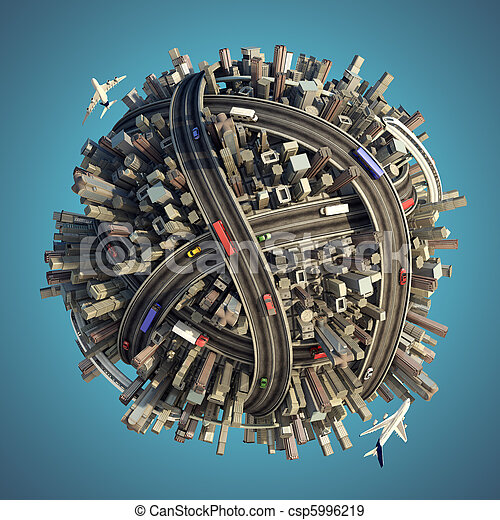 Miniature chaotic urban planet isolated - csp5996219