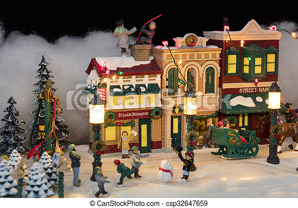 miniature christmas village scene csp32647659 - Miniature Christmas Village