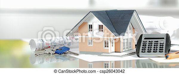 Miniature Home with Keys, Calculator and Blueprint - csp26043042