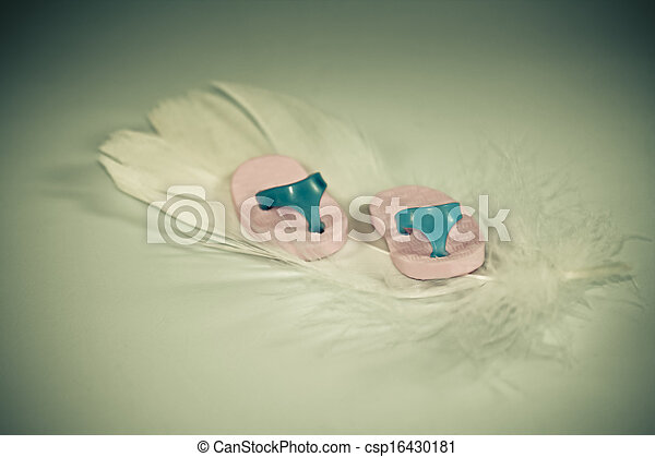 Miniature rubber slippers on feather - csp16430181