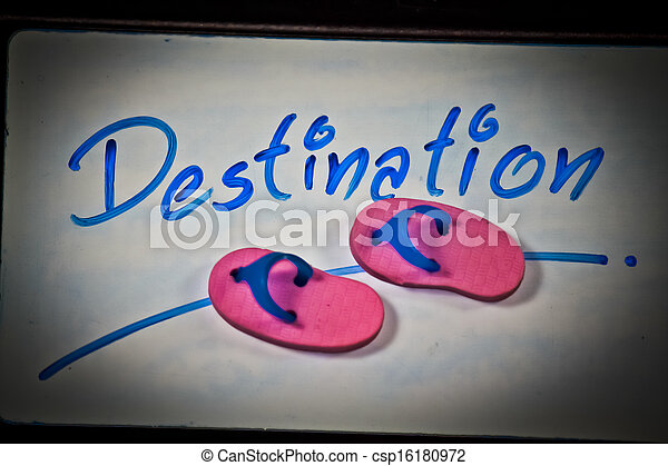Miniature rubber slippers with wording Destination, Concept - csp16180972