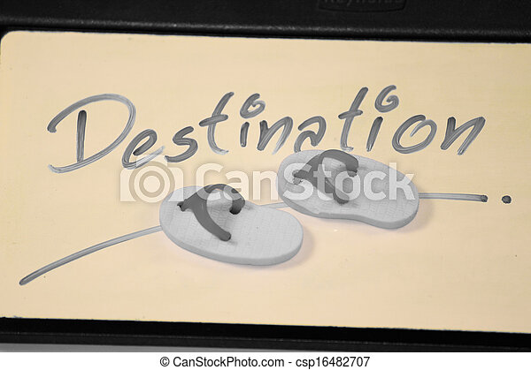 Miniature rubber slippers with wording Destination, Concept - csp16482707