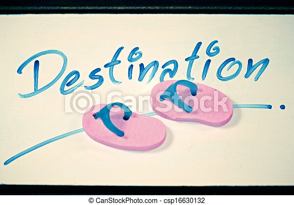 Miniature rubber slippers with wording Destination, Concept - csp16630132