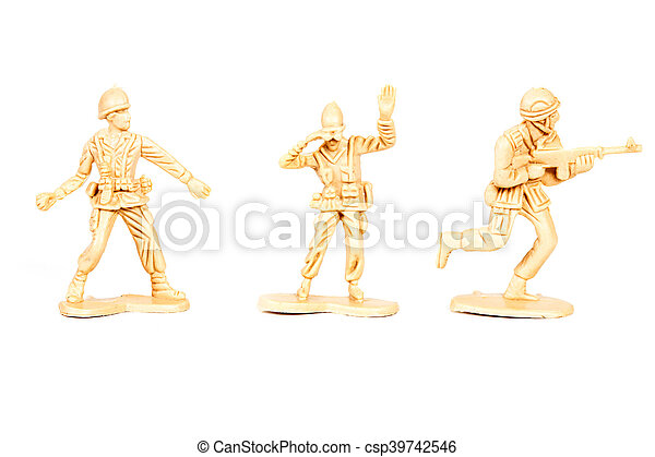 miniature  soldiers toy  on white background - csp39742546