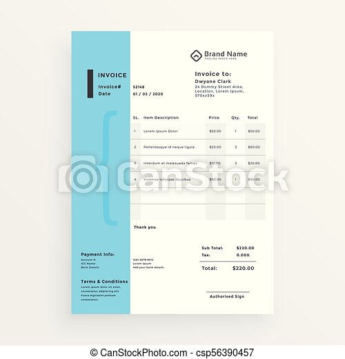 Minimal creative invoice template design minimal creative invoice template design csp56390457 thecheapjerseys Image collections