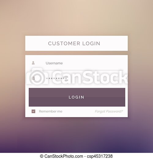 Minimal login form template design for website and applications.
