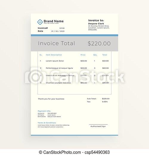 minimal style invoice template design