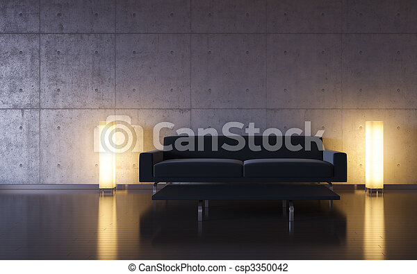 Minimalism: black couch and two lights by the wall - csp3350042