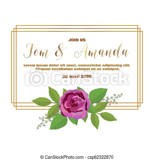 picture about Printable Wedding Invitation Templates named Minimalism marriage ceremony invitation template with rose and leaf