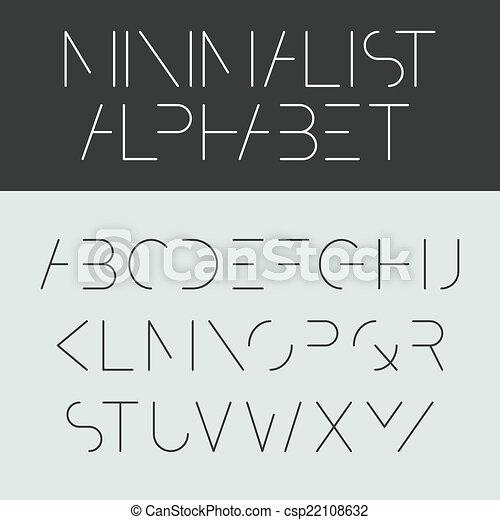 Minimalist alphabet - font design - csp22108632