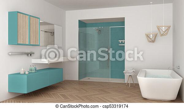 Minimalist, Badezimmer, Dusche, Doppelgänger, Türkis, Badewanne, Hell,  Design,