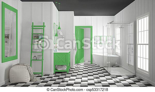 Minimalist, Badezimmer, Graue , Dusche, Klassisch, Skandinavisch, Weißes,  Decors, Design, Weinlese, Inneneinrichtung, Grün, Badewanne