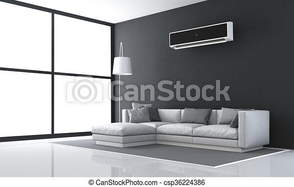 Minimalist black and white living room - csp36224386