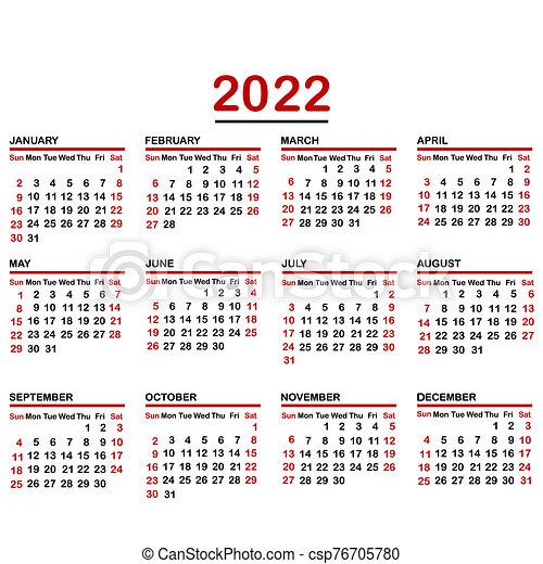 Calendar Year 2022.Minimalist Calendar Of Year 2022 Canstock