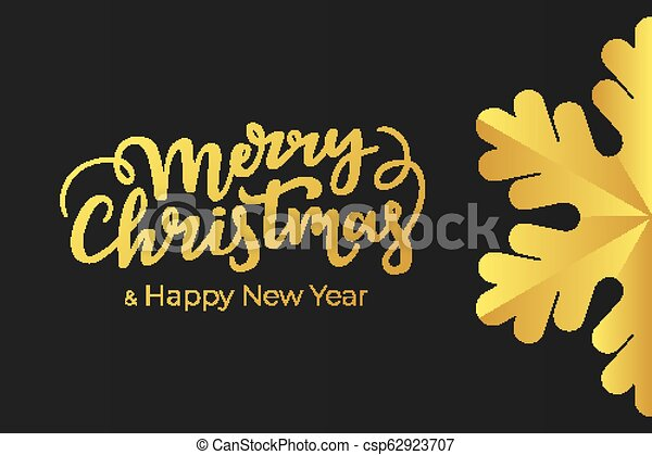 minimalist christmas and new year card design with hand lettering wishes and luxury decoration of a