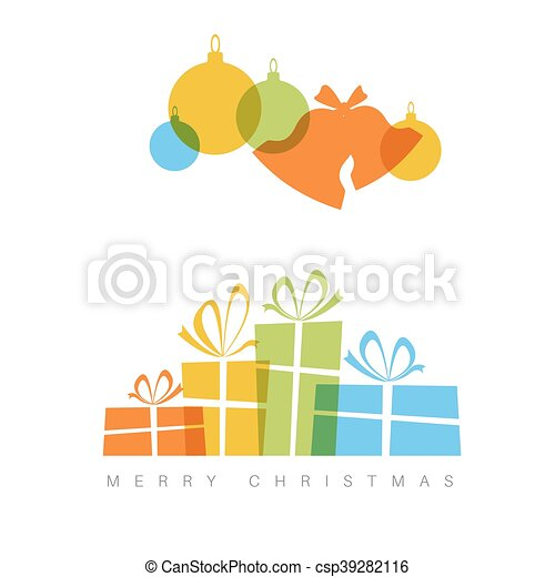 minimalist christmas card with decorations and gifts boxes