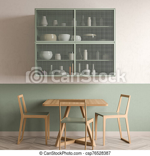 Minimalist Dining Room Design With Wooden Table And Chairs 3d Illustration Canstock