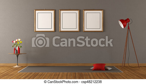 Minimalist Empty Room With Floor Lampblank Frame And Drawings