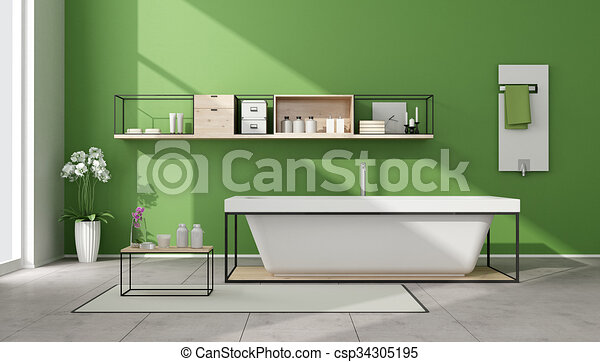 Minimalist green bathroom  - csp34305195
