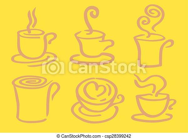 Minimalist Hot Coffee in Cup Vector Design - csp28399242