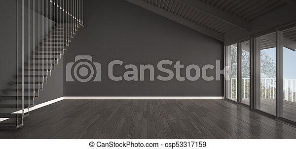 Minimalist, Industrie, Kleingarten, Parkett, Roofing, Boden, Mezzanine,  Klassisch, Metall, Stockfoto