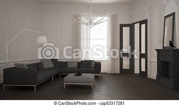Moderne minimalistische kantoor in klassieke vintage kamer met