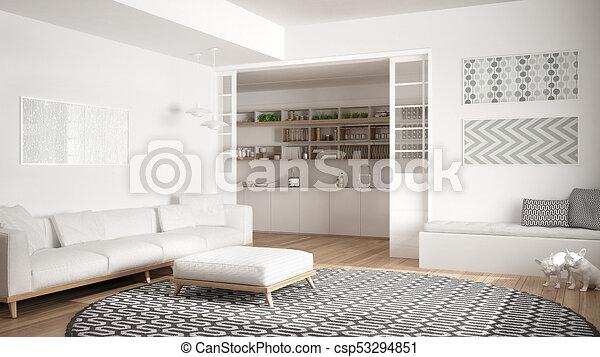 Minimalist kamer levend groot moderne sofa achtergrond
