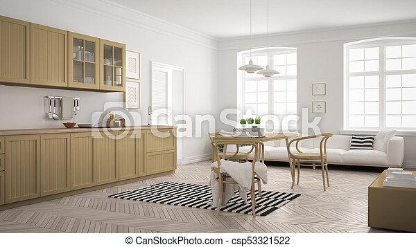Minimalist, Khaki, Wohnzimmer, Modern, Gelber , Skandinavisch, Essen,  Design, Inneneinrichtung, Stockfoto