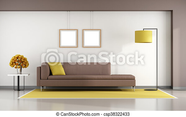 Minimalist Living Room With Brown Sofa On Yellow Carpet 48d Rendering Mesmerizing Living Room Brown Couch Minimalist