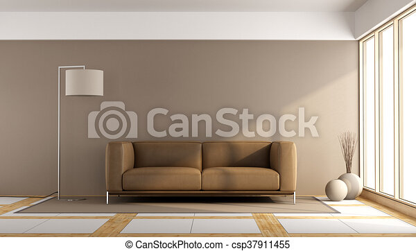 Minimalist Living Room With Brown Sofa And Floor Lamp 48d Rendering Cool Living Room Brown Couch Minimalist