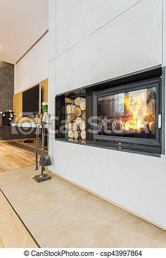 Kaminofen Landhaus minimalist modern kaminofen landhaus minimalist stockbild