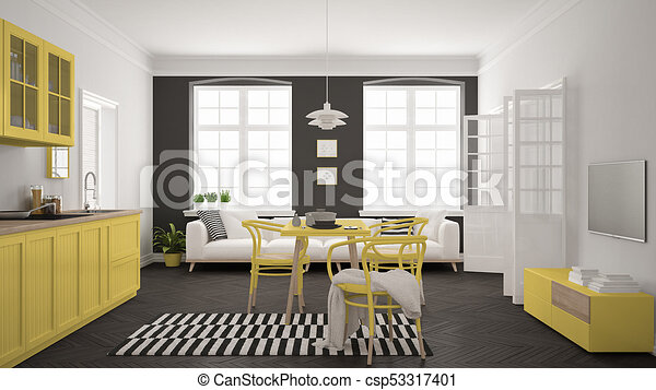Minimalist Modern Kitchen With Dining Table And Living Room White And Yellow Scandinavian Interior Design Canstock