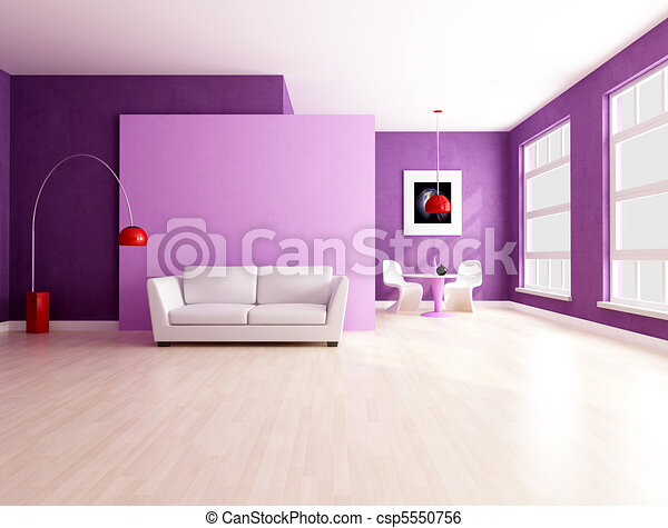 minimalist purple  living room with dining space - csp5550756