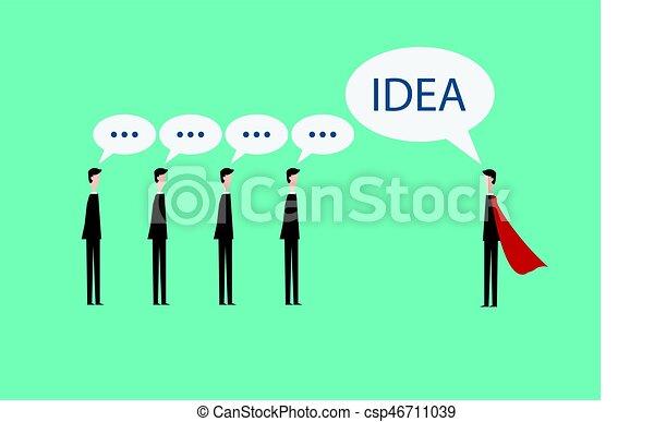 Line Art Illustration Style : Minimalist style super businessman brainstorming. new idea