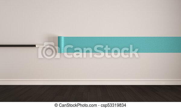 Minimalist, Türkis, Zimmer, Gemalt, Boden, Wand, Farbe, Design, Rolle,  Inneneinrichtung, Hölzern, Stock Illustration
