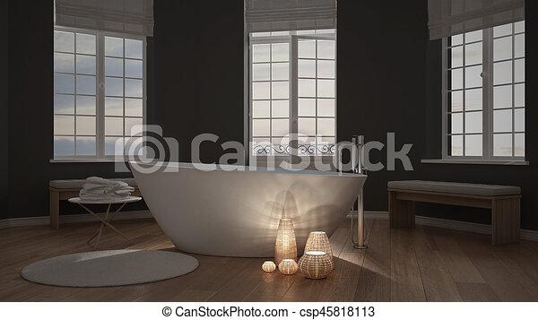 Spa Badkamer Ontwerp : Minimalist verlicht kaarsjes binnen zen ontwerp interieur