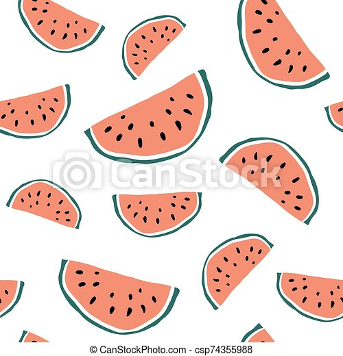 minimalist watermelon slice seamless eps vector csp74355988