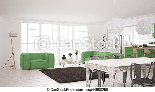 Minimalist white and green living and kitchen, scandinavian classic interior design - csp44980258