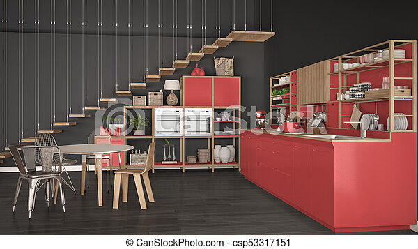 Minimalist White And Red Wooden Kitchen, Loft With Stairs, Classic  Scandinavian Interior Design