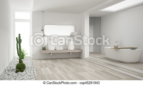 Minimalist White Bathroom With Succulent Garden Wooden Floor And Pebbles Hotel Spa