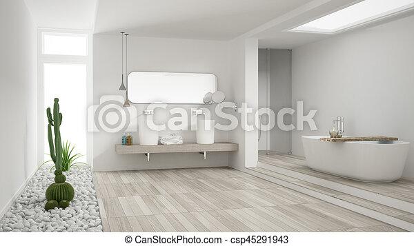 Line Art Bathroom Furniture : Minimalist white bathroom with succulent garden wooden drawing