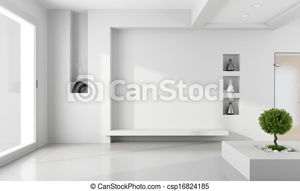 Minimalist white room - csp16824185