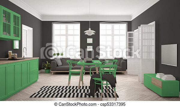 Minimalist, wohnzimmer, modern, skandinavisch, essen,... Stock ...